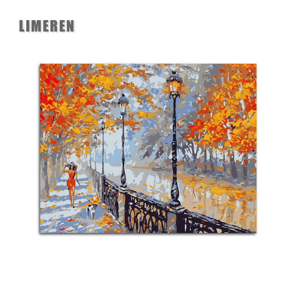 Walk the dog woman Autumn Street DIY Painting By Numbers Animal Hand-painted Canvas Oil Painting For Living Room Home Decor