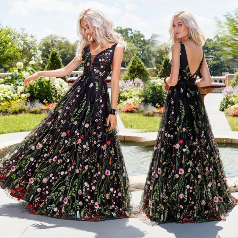 Black Floral Embroidery Maxi Dress Women Backless Deep V Neck Sexy Long Dresses Wedding Robe Femme 2020 Vestidos Evening