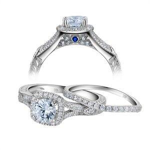 Image 3 - Newshe 2 قطع خاتم الزواج مجموعة 925 فضة 1.2Ct قطع مستديرة AAA تشيكوسلوفاكيا خواتم الخطبة للنساء JR5606