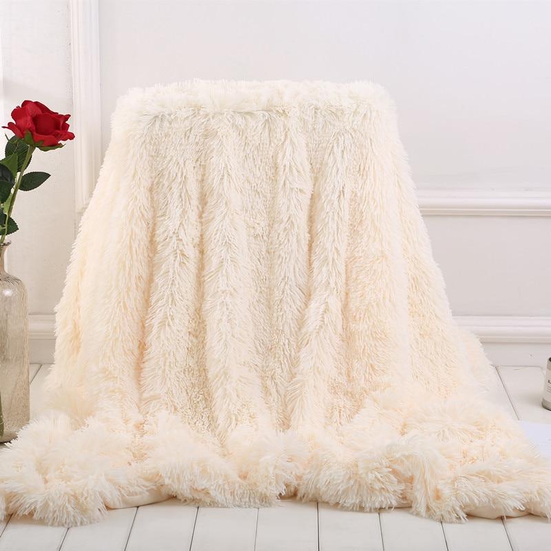 XC USHIO Elegant Throw Blanket For Bed Sofa Bedspread Long Shaggy Soft Warm Bedding Sheet Air Conditioning Blanket