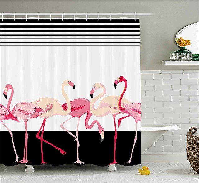 Retro Decor Shower Curtain Pink Flamingo Birds Background With Stripes Love Romance Icons Shabby Chic Graphic