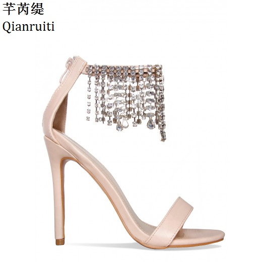 Qianruiti Clear Studded Crystal Ankle Strap Women Pumps Rome Style High  Heels Sandals Gold Beige Stiletto Heels Women Shoes 58629eab4167