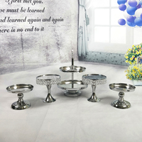 Silver Mirror cake stand Electroplating Metal cupcake stand Grand design baking love wedding party dessert table decoration