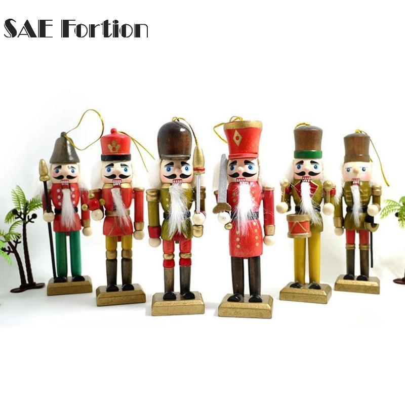 6 teile/satz Nussknacker Puppen Kreative Desktop Dekoration 12 cm Holz Weihnachtsschmuck Zeichnung Walnüsse Soldaten Band Dolls