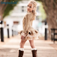 Simplee Kids 2018 Autumn Girls Dresses Beautiful Thermal Girls Sweater Blue Coffee Pullover Knitted Outerwears Smart Lace Dress
