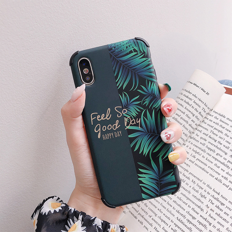 Banana leaves Anti knock phone Cases for iphone XS Max X XR for iphone 6 6s 7 8 Plus Matte soft silicone case Protective shell in Fitted Cases from Cellphones Telecommunications