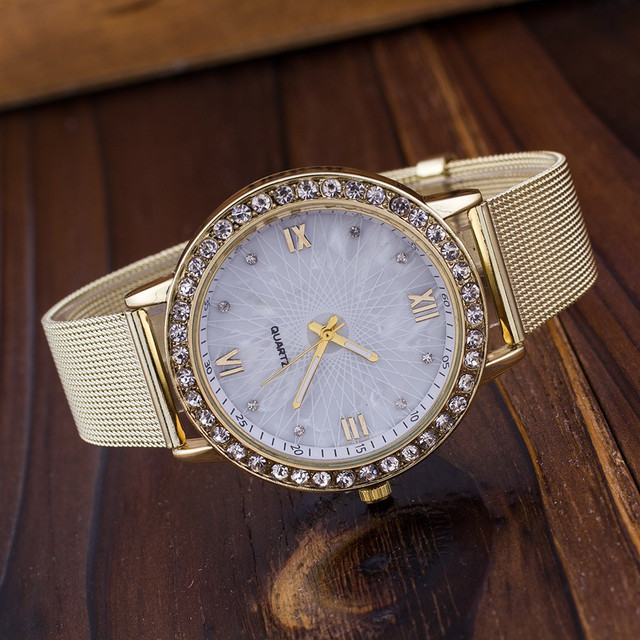 Diamond Women Watches Top Brand Luxury Mesh Stainless Steel Quartz Watch for Wom