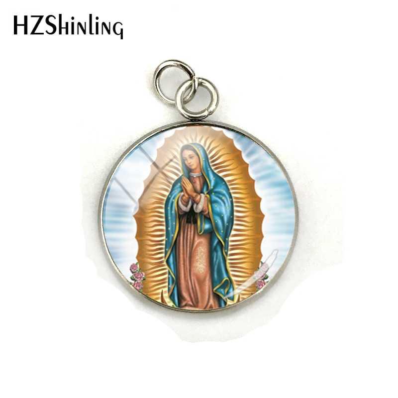 2019 nowy Vintage maryja dziewica biżuteria wisiorki matki bożej z Guadalupe biżuteria szklana kopuła Charms ze stali nierdzewnej dla prezenty