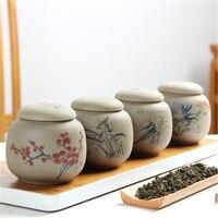Cute Mini Tea Pot Coarse Pottery Small Tea Storage Jar Tea Caddy Container Ceramic Jar Tea