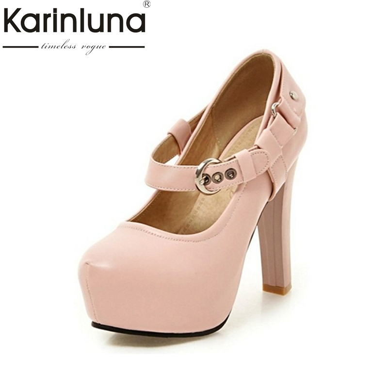 KarinLuna Big Size 34 43 Spike High Heels Women Pumps Roman Style Round Toe Platform Party Buckle Strap Woman Shoes-in Women's Pumps from Shoes    1