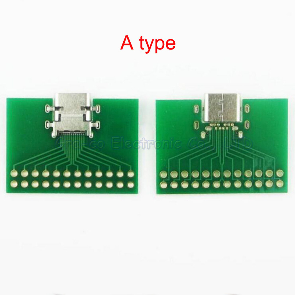 10pcs/lot USB 3.1 with PCB board TYPE-C connector 24P Test board Female Connector