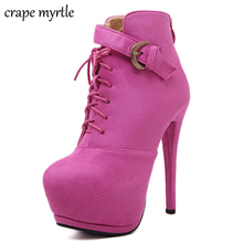 hot deal buy 2019 pink boots sexy high heels shoes platform ankle boots for women botas thin heels women heels night high heels boots yma505