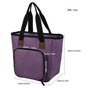 Image 2 - Saco de tricô fio portátil tote saco de armazenamento para lã crochê ganchos agulhas de tricô costura organizador suprimentos diy crochê saco