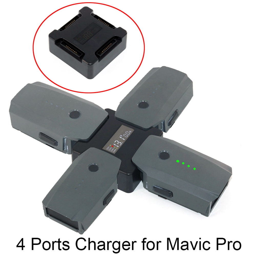 4 In1 Mavic Pro Battery Steward Parallel Charging Board Accessories Charger Adapter With Digital Display For DJI Mavic Pro Drone