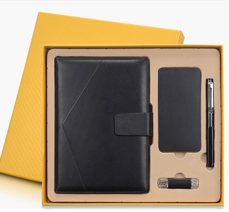 Business Hard Copybook Note Book Set with an Signing Pen+8G U Disk +Power Bank Exquisite Graduation Gift  Business Gift
