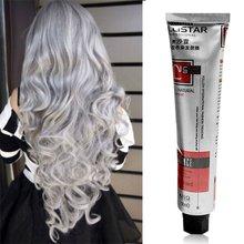 Модный женский крем-краска для волос 100 мл, Перманентный светильник-краска для волос в стиле панк серого и серебристого цветов, крем для ухода за волосами