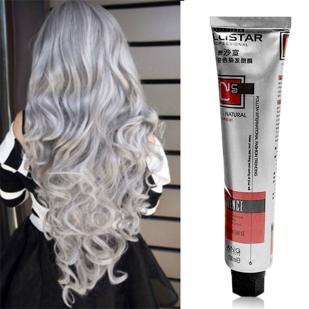 New 1Pc 100Ml Fashion Smoky Gray Punk Style Light Gray Silver Color Nature Permanent Super Hair Dye Cream Girls Beauty Hair
