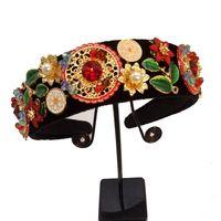 Neue Limited Edition Barocke Multicolor Blumen Crown Handgemachte Tiara Kristall Breite Stirnbänder Hochzeit Haar Schmuck Geschenk Für Frauen