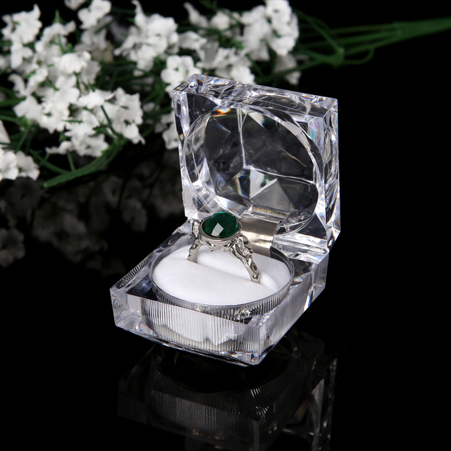 Clear Acrylic Jewelry Box Ring Earring Display Boxes Storage