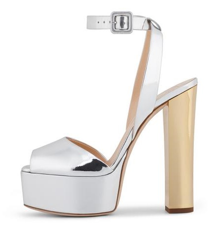 Hot Selling Metallic Platform Sandals Ankle Strap Chunky Heel Bling Bling Glitter Sandals 2018 Summer Dress Shoes High Heels luxurious ankle strap chunky heel high