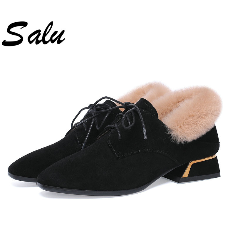 Salu Winter Warm Wool Fur Ankle Boots Genuine Full Grain Leather Long Plush Snow Boots Women High Quality Shoes