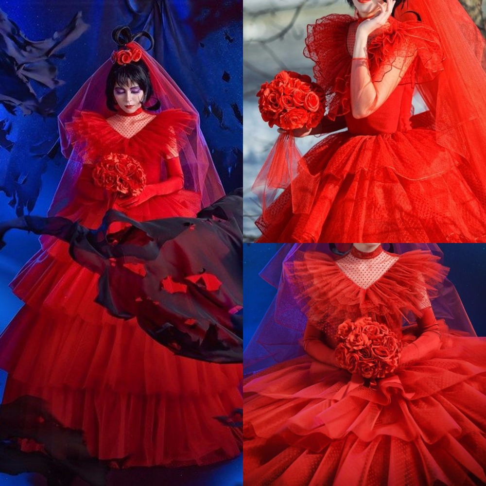 Gothic Wedding Dresses High Neck Long Sleeve Ball Gown Dress Tulle Ruffles Tiered Exclusive