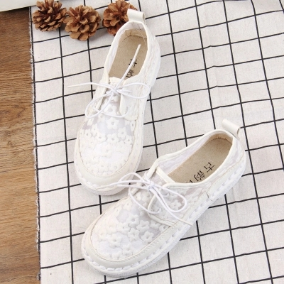 New retro art white shoes mesh breathable lace fisherman shoes womens shoes single shoes New retro art white shoes mesh breathable lace fisherman shoes womens shoes single shoes