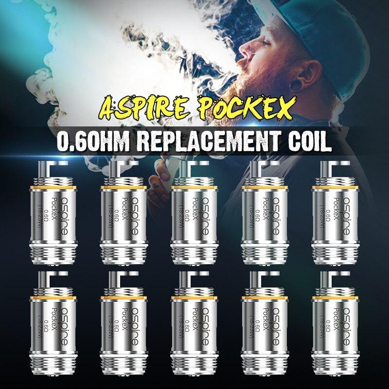 Brand New 0.6ohm Sigaretta Eletronic Atomizzatore Core ForAspire Pockex AIO U-Tech Bobine di Ricambio Per SS316L 18-23 w Pacchetto 5