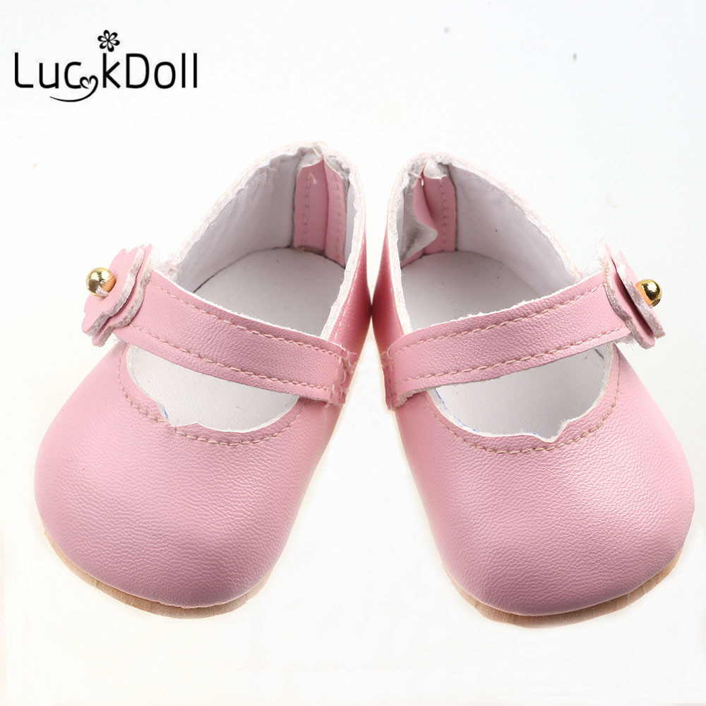 LUCKDOLL Solid Color Leather Shoes Fit 18 Inch American 43cm Baby Doll Clothes Accessories,Girls Toys,Generation,Birthday Gift