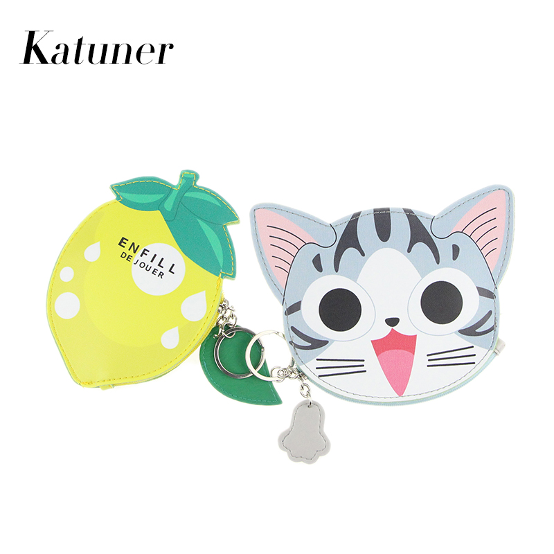 Katuner Hot Cute Fruit Coin Purse PU Leather Cartoon Animal Purse Women Mini Wallet Girls Zipper Pouch Girls Card Holder KB037 cute cartoon rabbit figure doll silicone cell phone strap pink