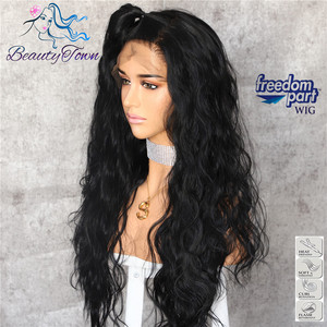 Image 3 - BeautyTown Black Color 13x6 Big Lace Free Part Futura Heat Resistant No Tangle Hair Daily Makeup Layer Synthetic Lace Front Wigs