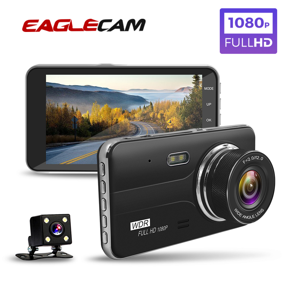 Car DVR 4 Inch Auto Camera Dual Lens Full HD 1080P Dash Cam Video Recorder With Rear View Camera Registrator Night Vision DVRs-in DVR/Dash Camera from Automobiles & Motorcycles
