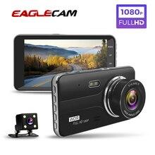 자동차 dvr 4 인치 자동 카메라 듀얼 렌즈 풀 hd 1080 p 대시 캠 비디오 레코더 후면보기 카메라 등록자 야간 투시경 dvrs