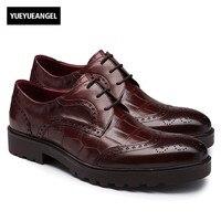 Nuovi Uomini di Arrivo Vestito Scarpe Comode Traspirante Cuoio Genuino scarpe A Punta Lace Up Classic Offic Lavoro Scarpe Brogue Aziendali