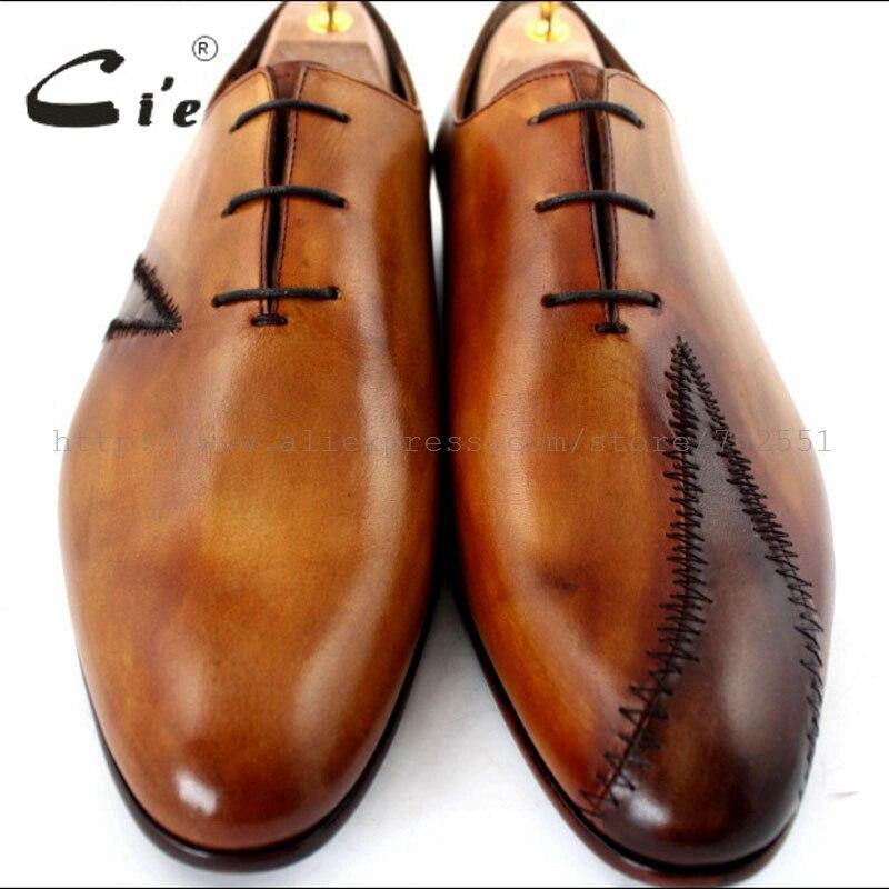 Cie Gratis Verzending Custom Bespoke Handgemaakte Echt Leer heren Oxford Patch Veter Schoen Kleur Bruin No. OX195 Mackay Craft - 4