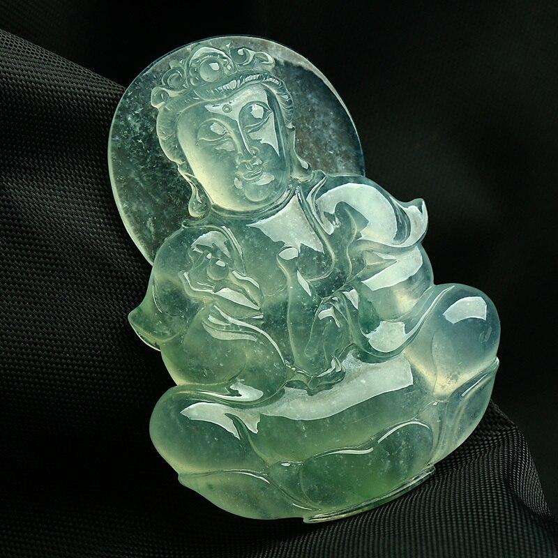 Burma ice A cargo stone guanyin pendant /
