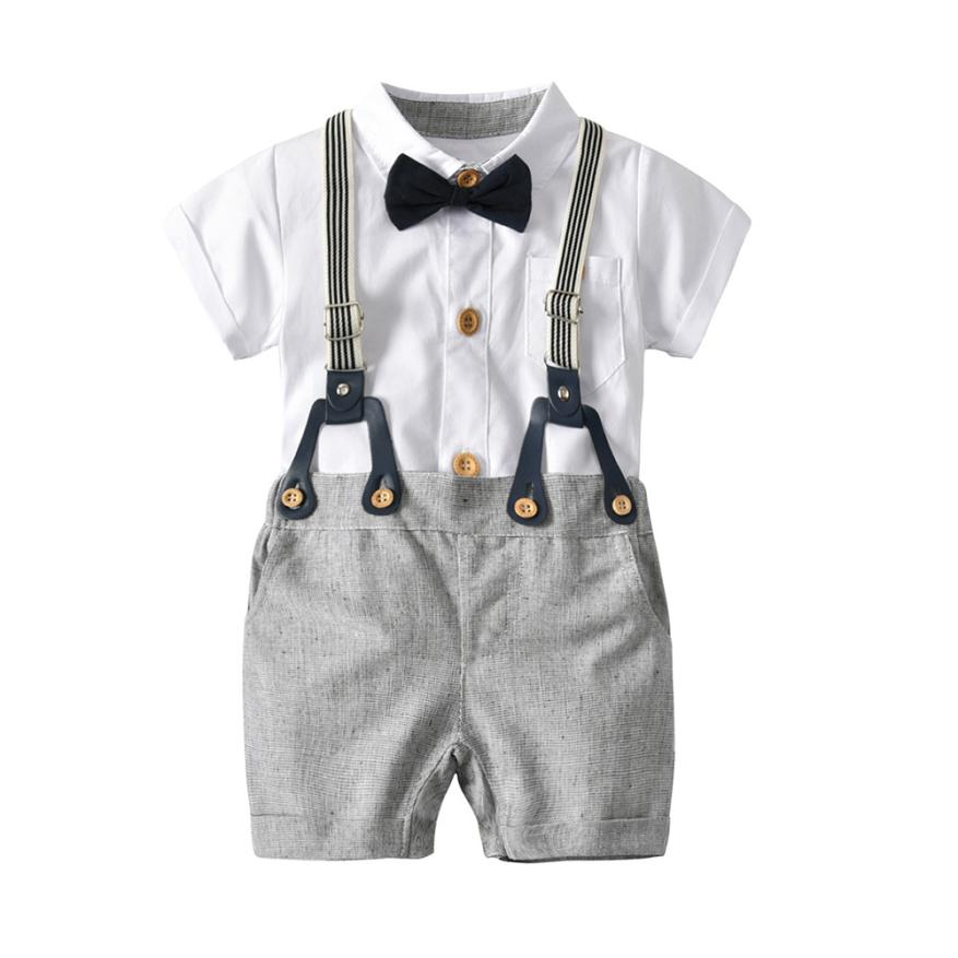 Toddler Baby Boys Summer Gentleman Bowtie Short Sleeve Shirt+Overall Shorts Sets Smart Baby Clothes Adorable August 11