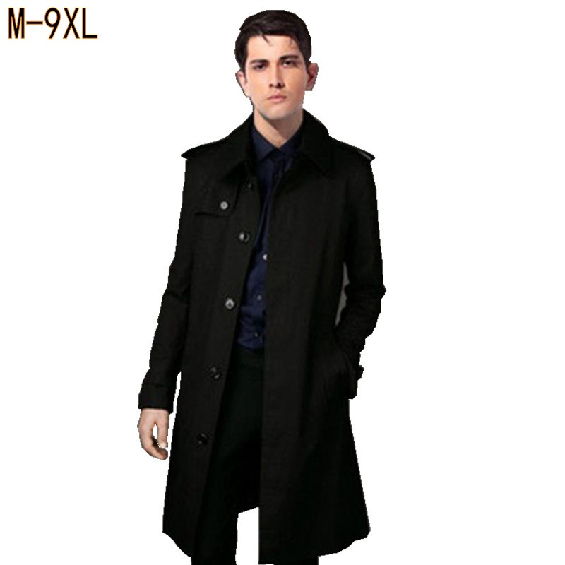 Spring & autumn plus size men   Trench   turn-down collar loose Single Breasted X-long casual jacket big size coat 6xl 9xl 8xl