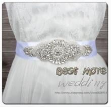 2015 Hot Selling Evening Dress Belt Wedding dress sash belt Handmade with 400Cm length RIbbon and rhinestones applique