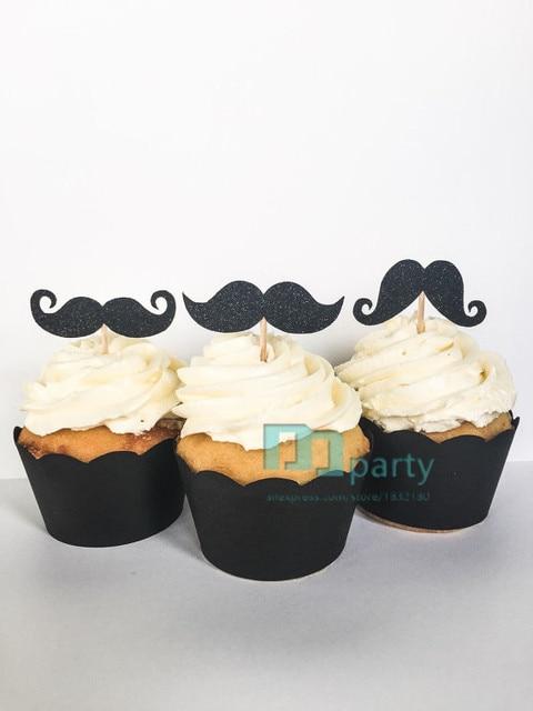 Black Glitter Mustache Cupcake Toppers Little Mr Birthday Boy Baby