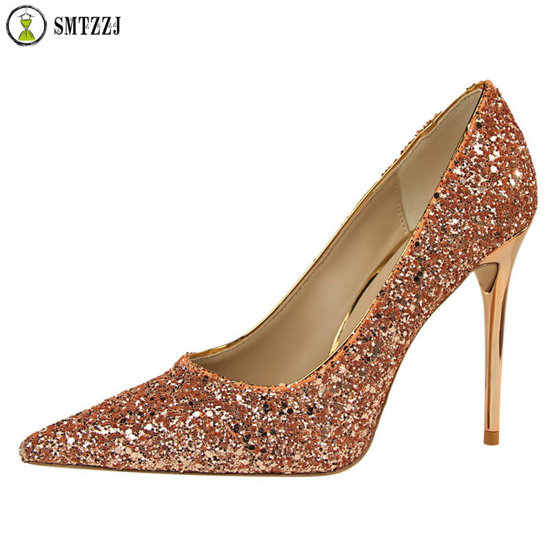 Luxury Brand Designer Women Elegant Sexy Bling Pump Shoes 2019 Fashion 10cm Scarping High Heels Wedding Party Ladies Pumps in Women 39 s Pumps from Shoes
