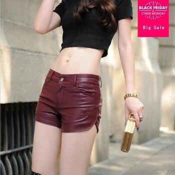 5XL plus tamaño 2017 nueva moda de cuero pantalones cortos de las mujeres  nuevo otoño y el invierno de la PU de cuero de gran tamaño corto w1378 37b285b8e8b