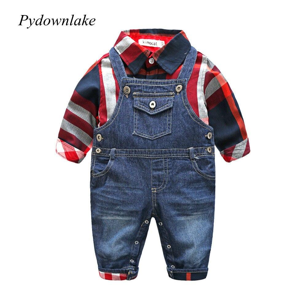 Pydownlake New Gentleman Clothes Baby Boys Long Sleeve Cotton Plaid T Shirt +denim Overalls Suit Autumn Infant Clothes Newborns