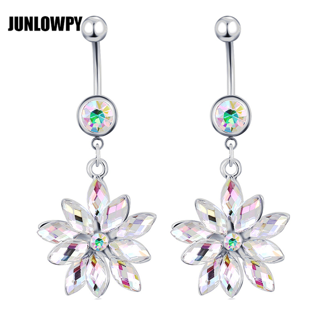 Us 2 74 33 Off Junlowpy 14g Belly Button Rings Crystal Rhinestone Dangle Navel Body Jewelry Piercings Nariz Aro Ombligo For Woman Belly Ring On