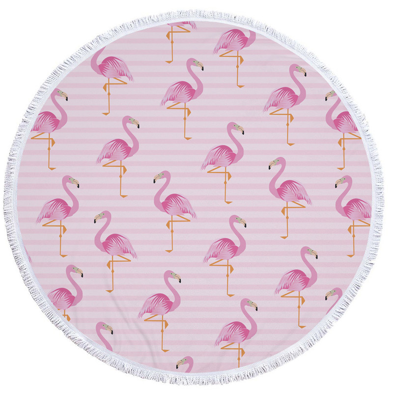 HTB1TZCxSXXXXXaBXpXXq6xXFXXXr - Round Style Microfiber Beach Towel - Flamingo With Tassels Design