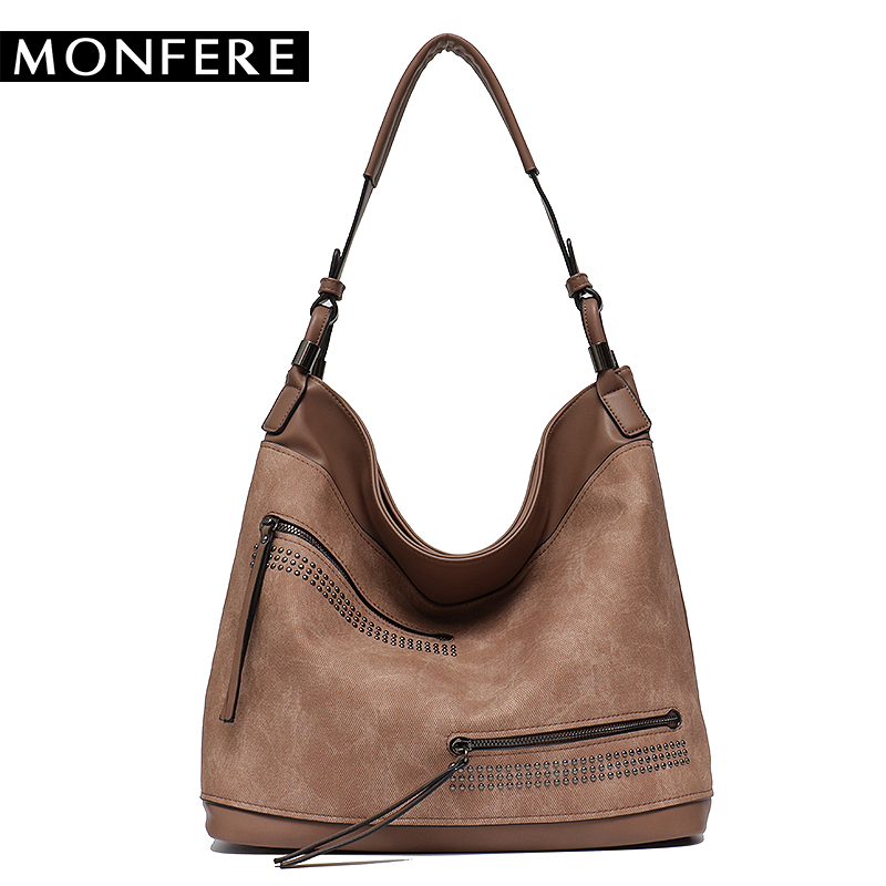 MONFER Brand Large Capacity Shoulder Bags for Women Designer Hobo Handbag  Female Zipper Pockets Pu Leather Trim Causal Bag 2018 d3fef4af3136b