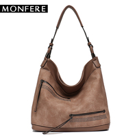 MONFER Brand Large Capacity Shoulder Bags for Women Designer Hobo Handbag Female Zipper Pockets Pu Leather Trim Causal Bag 2018