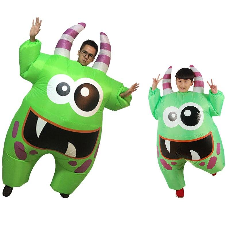 Costume de monstre de marais gonflable effrayant bouche verte monstre Costume de luxe pour enfants adulte Halloween Cosplay tenue pour les garçons