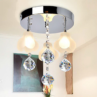 90-230V K9 Crystal ceiling light Flush Mount, 3 Light, Minimalist Metal Glass Electroplating  90-230V K9 Crystal ceiling light Flush Mount, 3 Light, Minimalist Metal Glass Electroplating