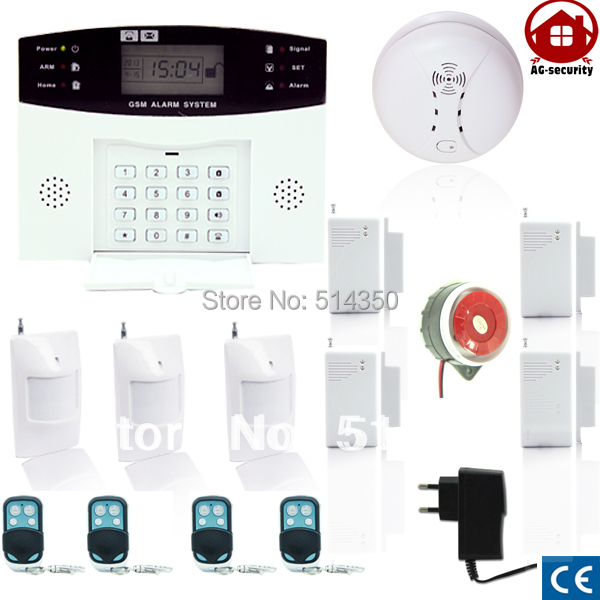 GSM SMS Home Burglar Security GSM Alarm System Detector Sensor Kit smoke detector free shipping Russian lanuage support